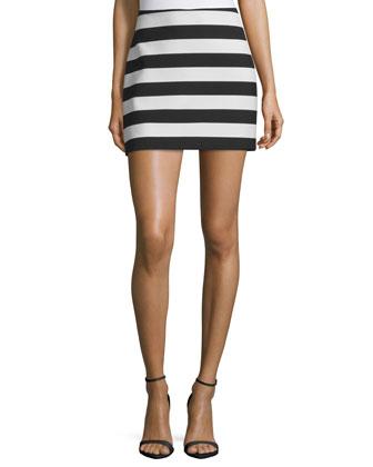 Two-Tone Striped Mini Skirt, Black/White