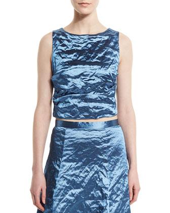 Sleeveless Tuck-Pleat Crinkled Top, Blue Bell