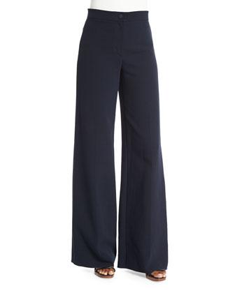 Cotton Double-Weave Wide-Leg Pants, Navy