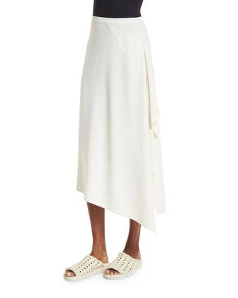 Draped-Side Crepe Midi Skirt, Ivory