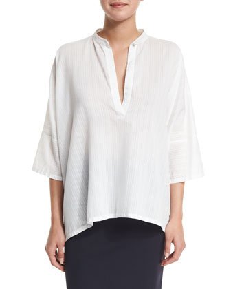 3/4-Sleeve Striped Gazar Oversized Top, White