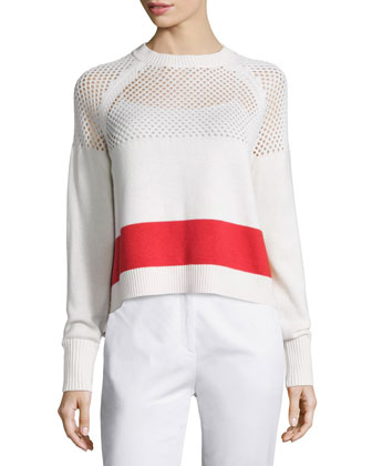 Mesh-Inset Pullover Sweater, White/Red