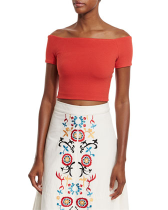 Gracelyn Off-the-Shoulder Cropped Top, Light Red