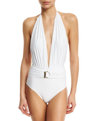 Belted Halter Maillot One-Piece Swimsuit, White