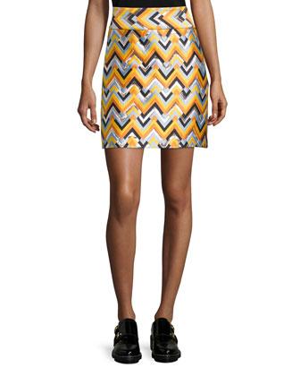 Chevron A-Line Skirt, Multi Colors