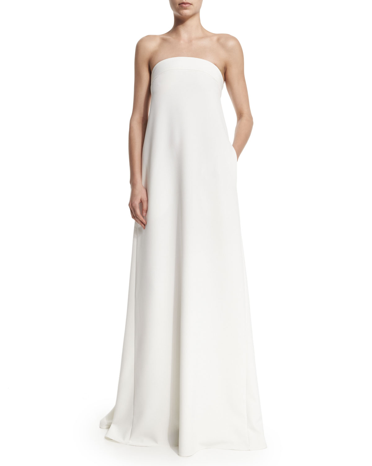 Strapless Banded Trapeze Gown, Size: 0, White - Milly