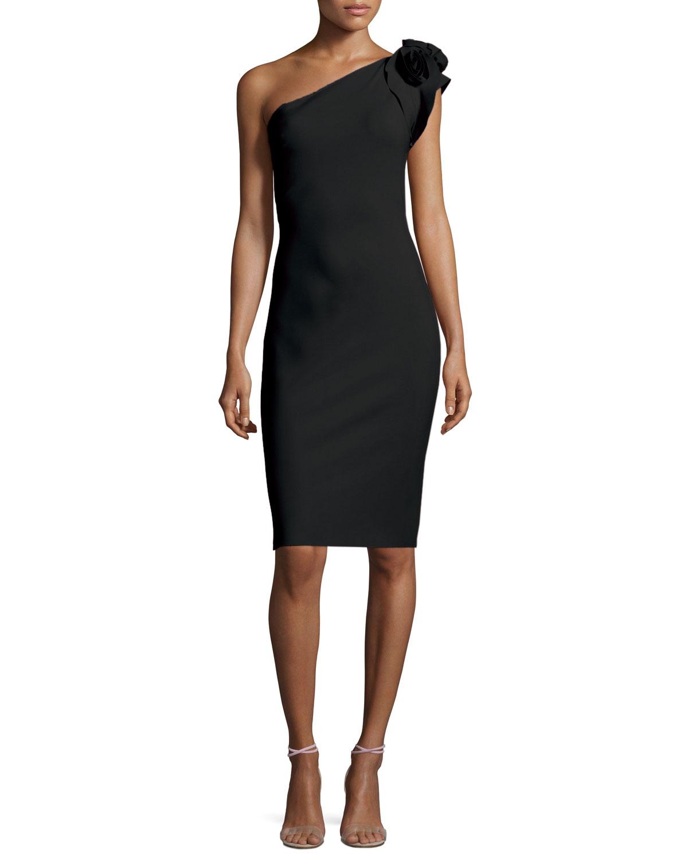 Cenrica One-Shoulder Rosette Sheath Dress, Size: 10, Black - La Petite Robe di Chiara Boni