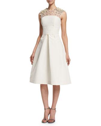 Beaded-Yoke Cocktail Dress, Ivory