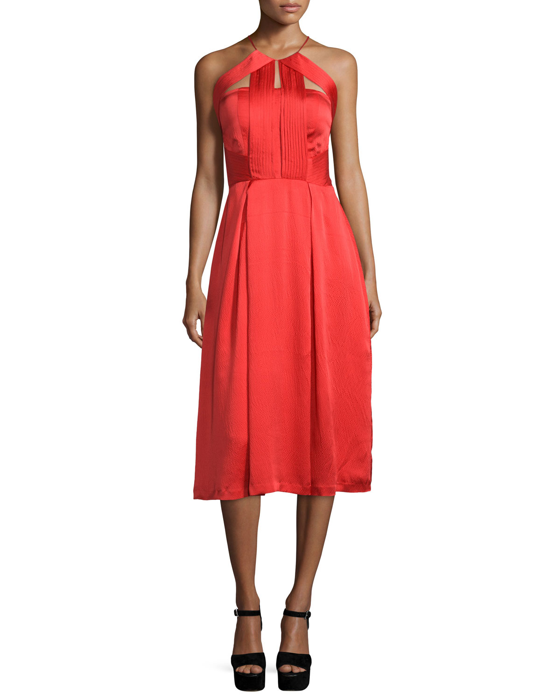 Sleeveless Pleated-Bodice Dress, Poppy Red, Women's, Size: L - Kendall + Kylie
