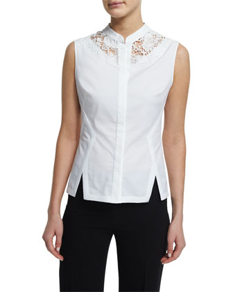 Nora Sleeveless Lace-Inset Blouse, White