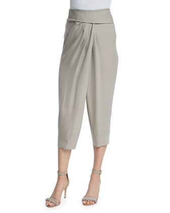 Candace Sleeveless Fringe-Front Sweater & Jodi Silk Sarong Pants