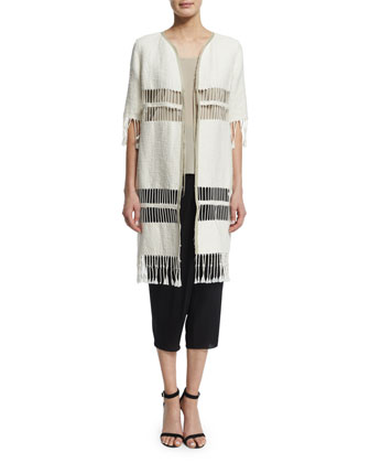 Rowena Fringe-Striped Long Coat, Ecru