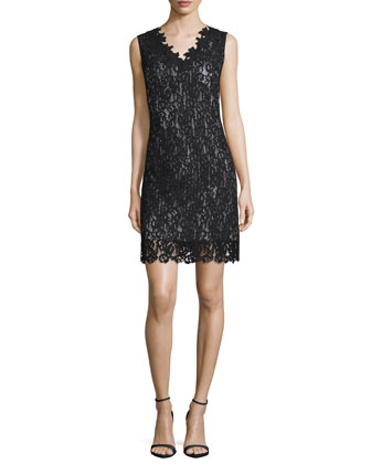 Naya Lace Sheath Dress, Black