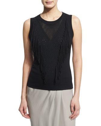 Candace Sleeveless Fringe-Front Sweater