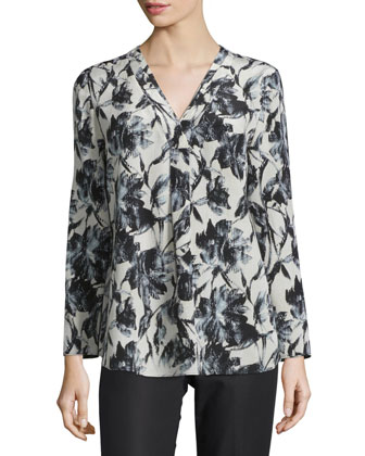 Libby Long-Sleeve V-Neck Printed Blouse, Black Multi