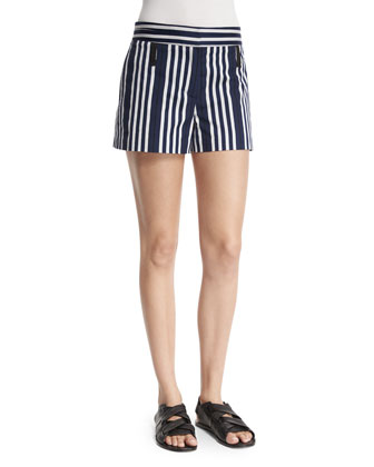 Willow Striped Cotton-Blend Shorts, Navy/White
