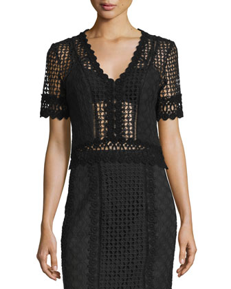 Short-Sleeve Crochet Lace Top, Black