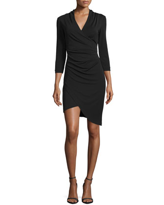 3/4-Sleeve Faux-Wrap Asymmetric Dress