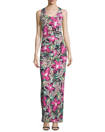 Sleeveless Ruched Floral-Print Maxi Dress