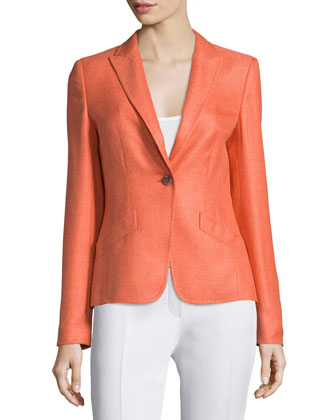 Long-Sleeve One-Button Jacket, Tangerine