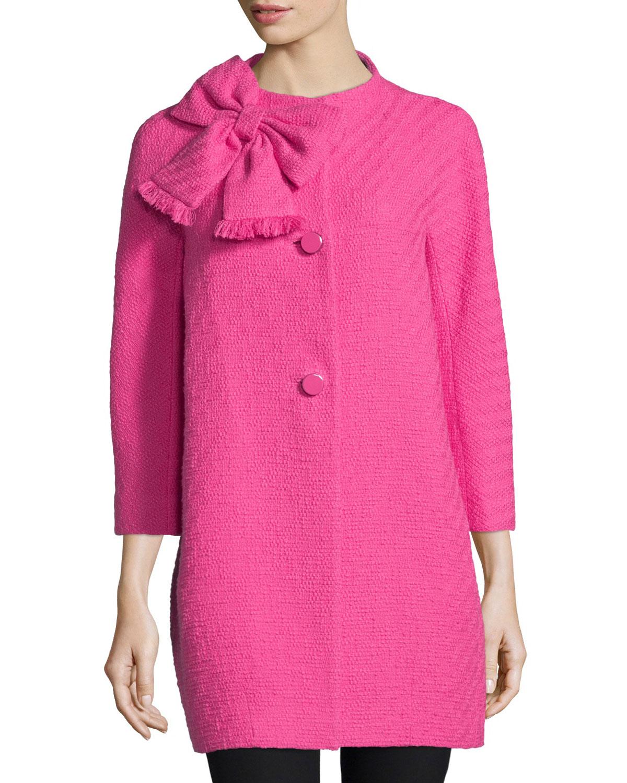 dorothy cotton-tweed bracelet-sleeve coat, night rose, Women's, Size: 6 - kate spade new york