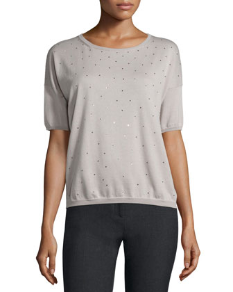 Short-Sleeve Embellished-Front Sweater