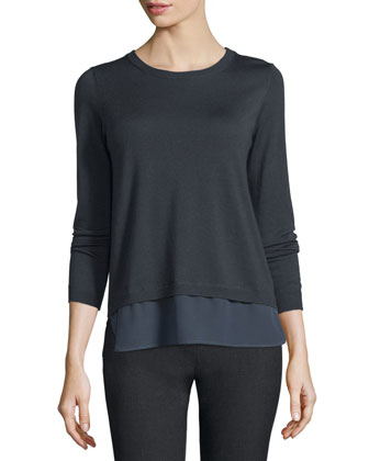 Long-Sleeve Contrast-Hem Sweater, Navy