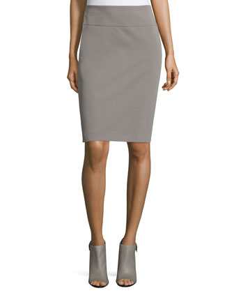 Mid-Rise Pencil Skirt, Taupe