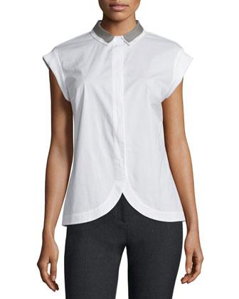 Cap-Sleeve Petal-Hem Shirt, White