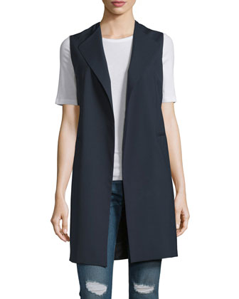Long Lightweight Stretch-Crepe Vest, Dark Navy