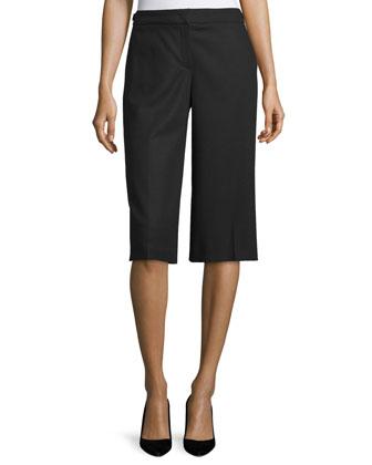 Wide-Leg Knee-Length Pants, Black