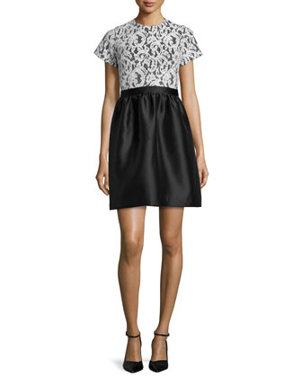 Short-Sleeve Lace-Bodice Dress, Snow/Jet