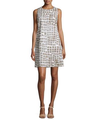Sleeveless Geometric-Print A-line Dress