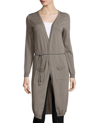 Open-Front Maxi Cardigan W/Leather Belt, Dark Taupe