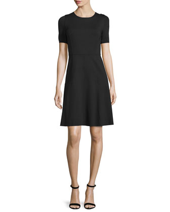 Maria Short-Sleeve Fit-&-Flare Dress, Black