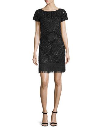 Short-Sleeve Embellished Cocktail Dress, Black