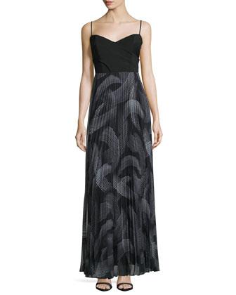 Sweetheart-Neck Pleated-Skirt Maxi Dress, Black/Multi