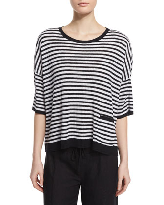 Short-Sleeve Striped Textured Top, Jamdani Hand-Loomed Check Scarf & ...
