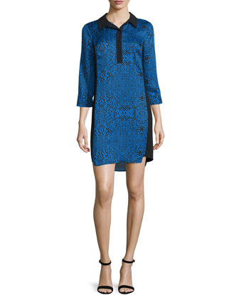 3/4-Sleeve Printed Shirtdress, Blue Beret/Multi