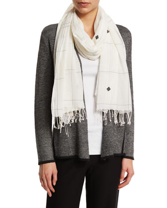 Jamdani Hand-Loomed Check Scarf, White