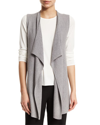 Organic Linen-Blend Draped-Front Vest, Smoke, Petite