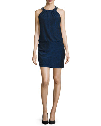 Sleeveless Blouson Cocktail Dress, Inkblot
