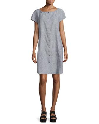 Short-Sleeve Chambray Dress