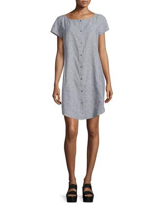 Short-Sleeve Chambray Dress, Petite
