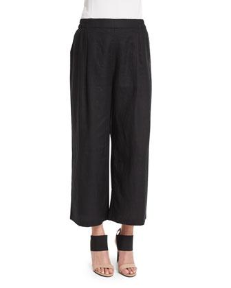 Organic Linen Wide-Leg Cropped Pants