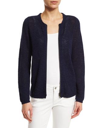 Wool/Silk Ikat Scarf w/ Pom-Poms, Bluebell