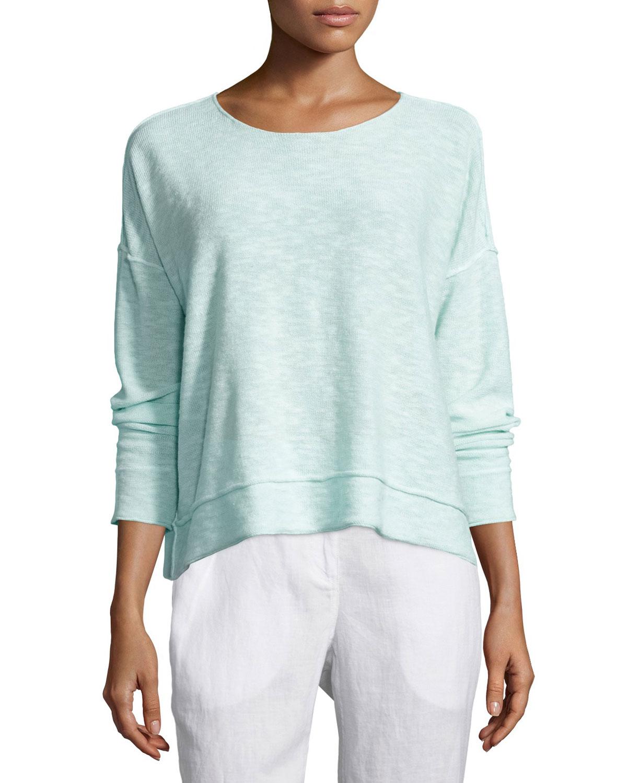 Organic Linen/Cotton Long-Sleeve Box Top, Green Mint, Women's, Size: X-SMALL (2/4), Greenmint - Eileen Fisher