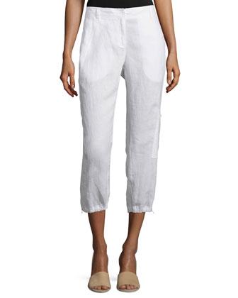 Organic Linen Cargo Ankle Pants, White, Petite