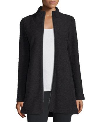 Textured Terry Zip-Front Jacket, Petite