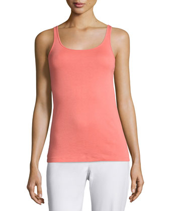 Long Organic Cotton Baby Rib Slim Tank, Flora